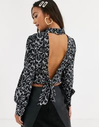 In The Style x Stephsa print cropped blouse with open back tie detail in black / high neck blouses