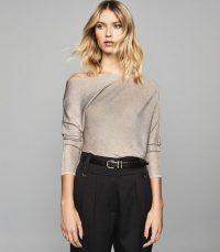 REISS ISLA METALLIC ASYMMETRIC TOP SILVER ~ contemporary clothing