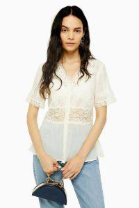 TOPSHOP Ivory Lace Insert Tea Blouse / floral detail blouses