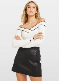 Miss Selfridge Ivory Tipped Rib Bardot Knitted Top