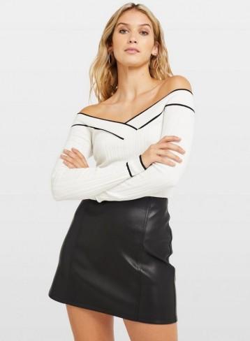 Miss Selfridge Ivory Tipped Rib Bardot Knitted Top