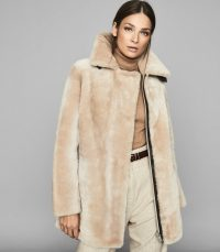 REISS IZZIE MID LENGTH SHEARLING COAT NEUTRAL ~ luxe winter coats