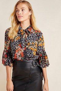 Kachel Janelle Floral Blouse Black Motif / feminine tiered bell sleeves