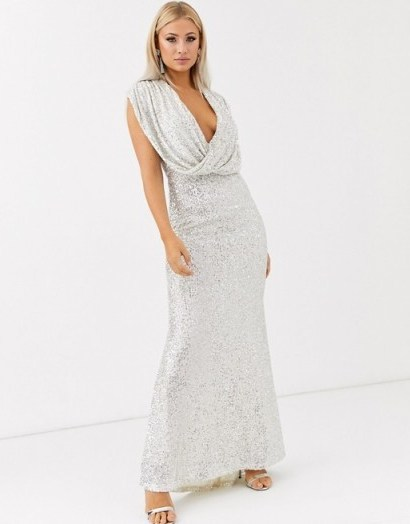 Jarlo wrap front sequin gown in silver / plunging gowns - flipped
