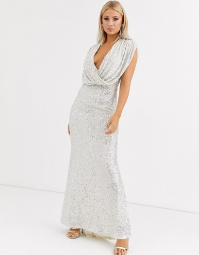 Jarlo wrap front sequin gown in silver / plunging gowns