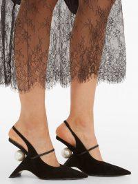 NICHOLAS KIRKWOOD Jazzelle faux-pearl black suede slingback pumps ~ sculpted heels
