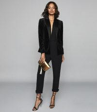 REISS JESS SLIM FIT SATIN TRIM TROUSERS BLACK ~ stylish evening pants