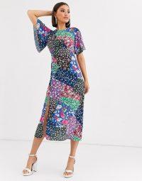 John Zack scarf print midaxi dress in multi print / feminine angel sleeve dresses