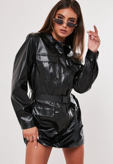 jordan lipscombe x missguided black faux leather utilty shirt dress / shiny dresses