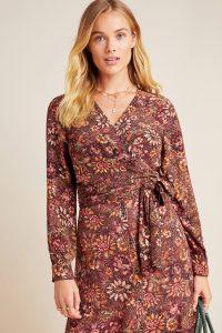 Kachel Donna Floral Wrap Blouse Red Motif / tie closure blouses