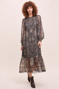 Kachel x Anthropologie Metallic-Paisley Dress Gold