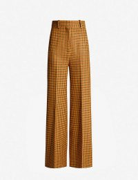 KHAITE Bernadette gingham high-rise wide-leg wool trousers / checked pants
