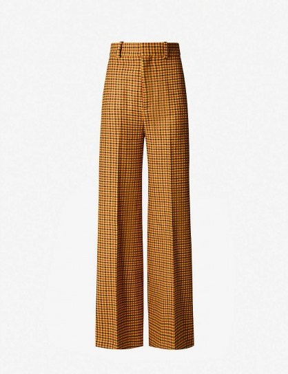KHAITE Bernadette gingham high-rise wide-leg wool trousers / checked pants - flipped