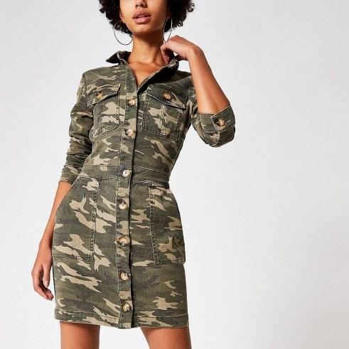 RIVER ISLAND Khaki camo fitted denim utility shirt dress / utilitarian style - flipped