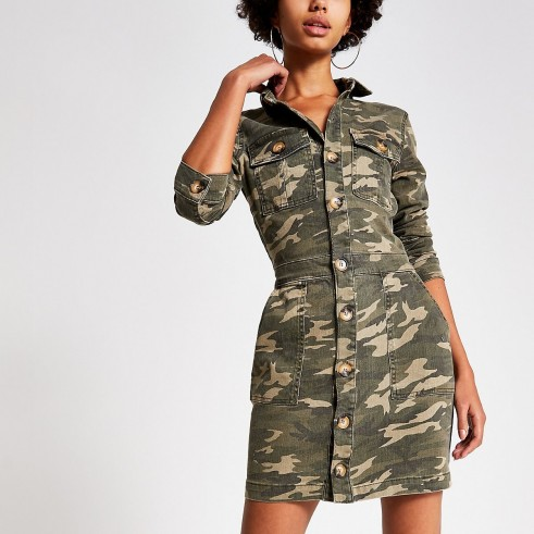 RIVER ISLAND Khaki camo fitted denim utility shirt dress / utilitarian style