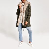 RIVER ISLAND Khaki faux fur trim oversized parka / hooded winter coats