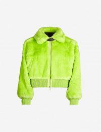 KIRIN PEGGY GOU Smile collared fitted faux-fur jacket | bright green fluffy bomber