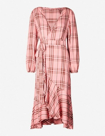 KITRI Anissa checked wrap over woven midi dress in peony - flipped