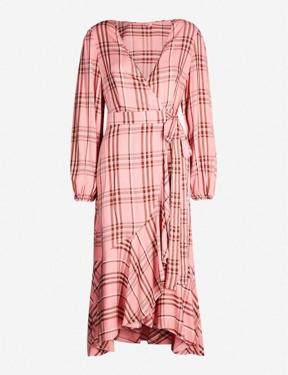 KITRI Anissa checked wrap over woven midi dress in peony