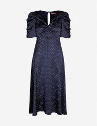 KITRI Serafina polka-dot ruched satin midi dress / vintage style fashion