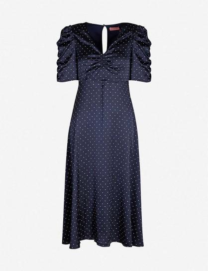 KITRI Serafina polka-dot ruched satin midi dress / vintage style fashion
