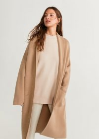 Mango Knitted unstructured coat in medium brown REF. 53093715-RINGO-LM