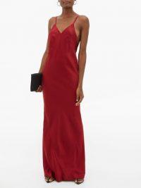 HAIDER ACKERMANN Kuiper V-neckline satin-crepe dress in red ~ effortless style event wear