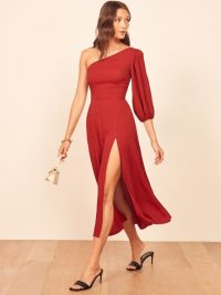REFORMATION Lawrence Dress in Crimson ~ one shoulder dresses