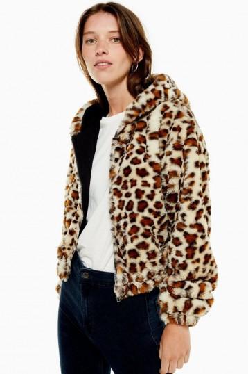 TOPSHOP Leopard Print Faux Fur Hoodie in Tan