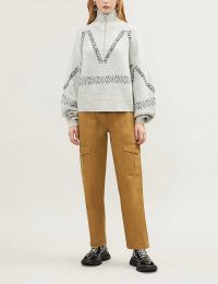 LES COYOTES DE PARIS Olivia patterned woven jumper / logo printed sweater / balloon sleeve knitwear