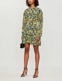 LES REVERIES Floral-print silk mini dress in petite rose acid yellow