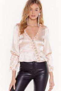 NASTY GAL Let Me Off the Hook and Eye Satin Blouse in Nude
