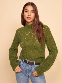 REFORMATION Lexi Sweater in Green | high neck open knit jumper