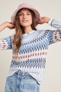 Libby Fair Isle Sweater in Wedgewood Blue | round neck patterned jumper