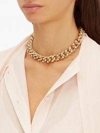 ROSANTICA BY MICHELA PANERO Liberta crystal-embellished choker necklace ~ chunky chain chokers