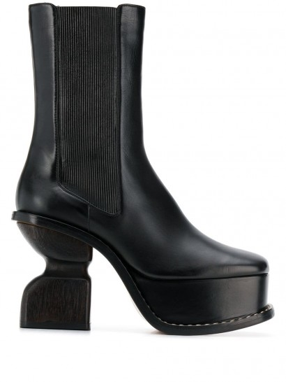 LOEWE 105mm platform boots with cut-out heel