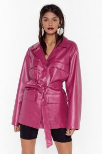 NASTY GAL Longing for You Faux Leather Belted Jacket