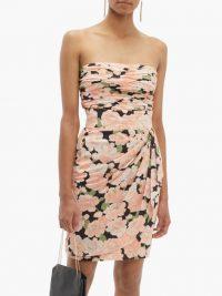 WILLIAM VINTAGE Loris Azzaro floral-print silk skirt and top set in pink