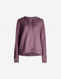 LORNA JANE Relaxed-fit waffle-knit cotton-blend hoody in soft violet