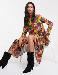 Lost Ink oversized smock dress in floral / bright florals