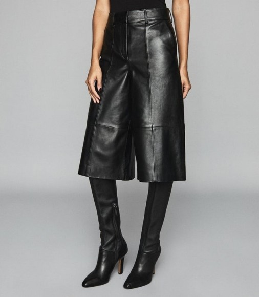 REISS LOTTE LEATHER CULOTTES BLACK