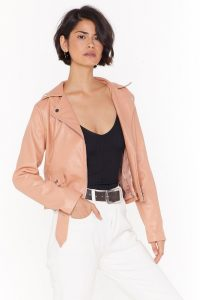 NASTY GAL Love Leather Felt So Good Faux Leather Jacket in Nude