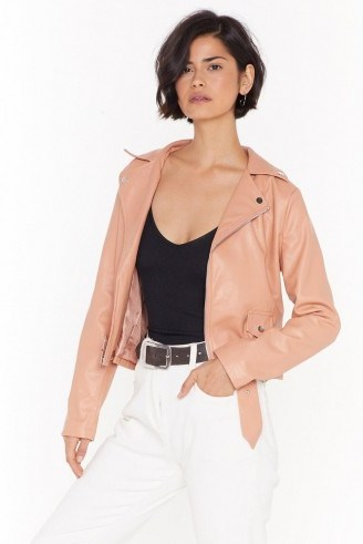 NASTY GAL Love Leather Felt So Good Faux Leather Jacket in Nude - flipped