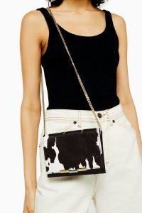 TOPSHOP LUXE Suede Cow Print Cross Body Bag in Monochrome