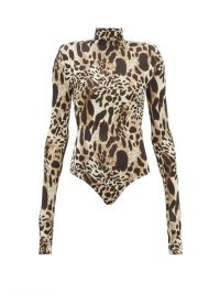 ALEXANDRE VAUTHIER Cream and brown lynx-print stretch-jersey bodysuit