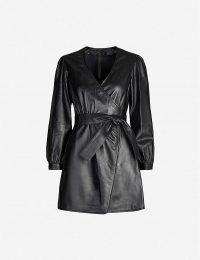 MAJE Wrap-around leather mini dress in black