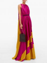 ROKSANDA Maluka contrast-panel silk-satin gown in fuchsia-pink