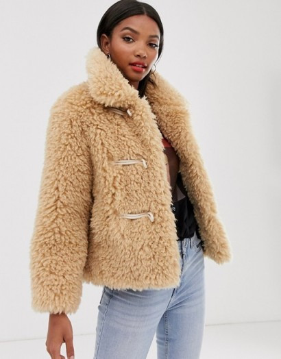 Mango faux fur jacket in beige / chunky winter jackets