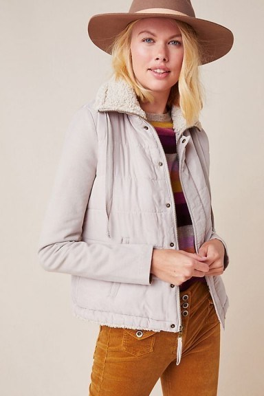 Marrakech Tia Quilted Sherpa Jacket in Oyster - flipped