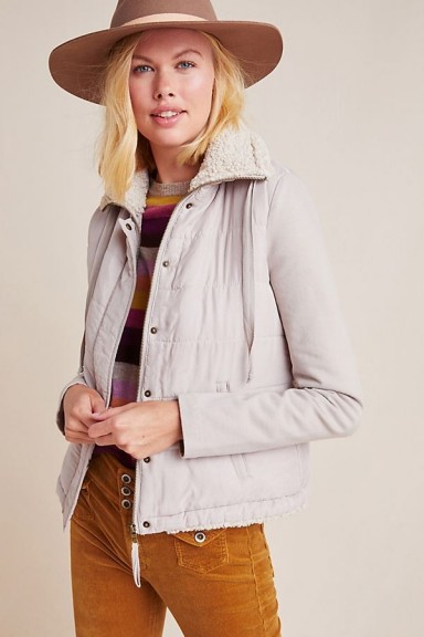 Marrakech Tia Quilted Sherpa Jacket in Oyster